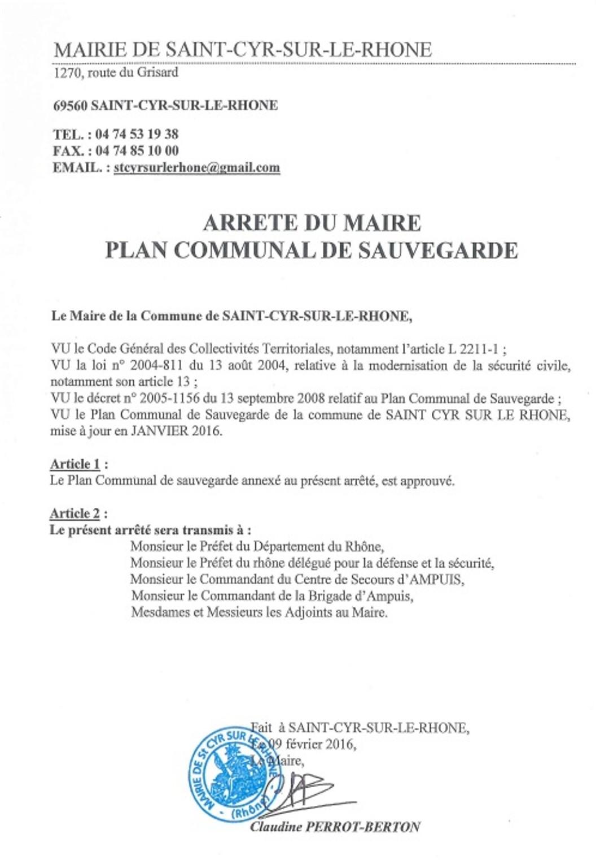 Arrete municipal Plan communal de sauvegarde